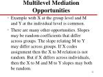 multilevel mediation opportunities