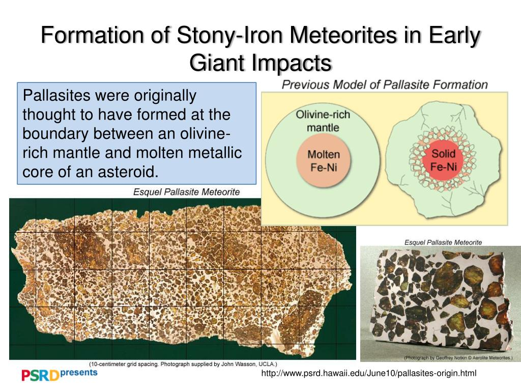 formation of stony iron meteorites in early giant impacts l.