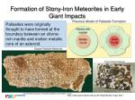 formation of stony iron meteorites in early giant impacts
