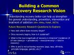 building a common recovery research vision