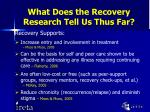 what does the recovery research tell us thus far