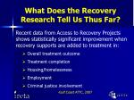 what does the recovery research tell us thus far8