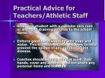 practical advice for teachers athletic staff