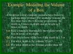 example modeling the volume of a box