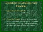 guidelines for modeling with functions