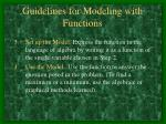 guidelines for modeling with functions1