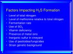 factors impacting h 2 s formation