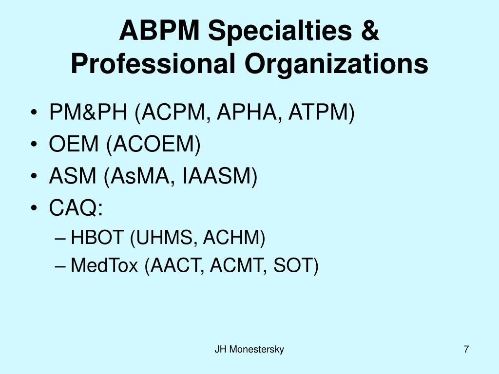 ABPM Specialties &