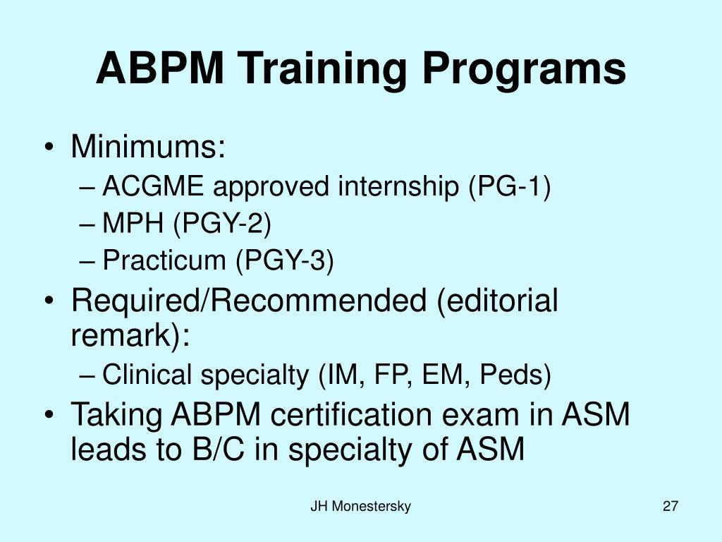ABPM Training Programs