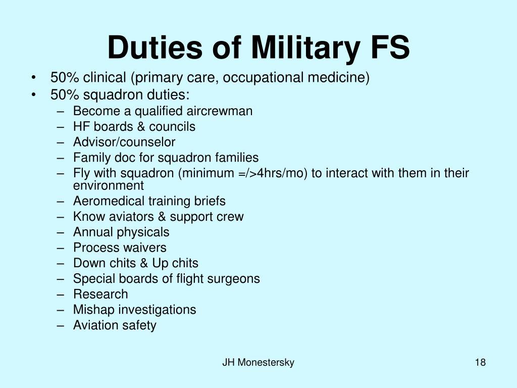 Duties of Military FS