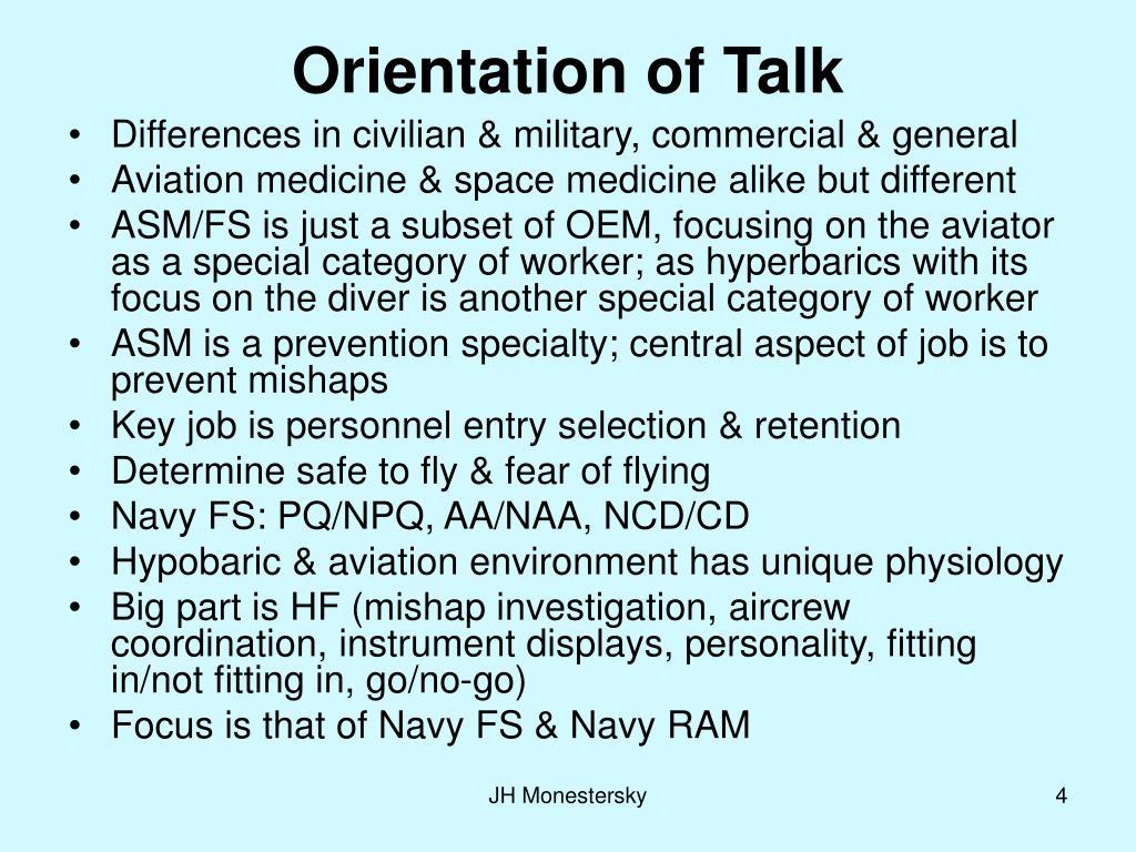 Orientation of Talk