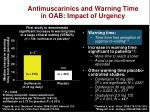 antimuscarinics and warning time in oab impact of urgency