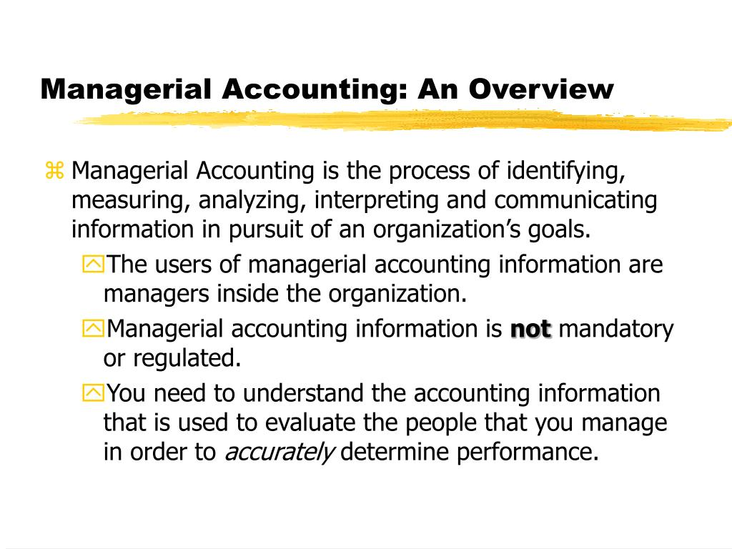 managerial accounting an overview l.