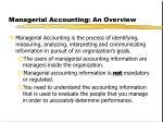 managerial accounting an overview