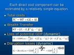 each direct cost component can be estimated by a relatively simple equation
