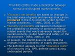 the nrc 2005 made a distinction between normal and disrupted market benefits