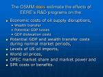 the osmm does estimate the effects of eere s r d programs on the