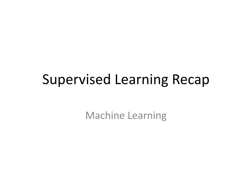 supervised learning recap l.