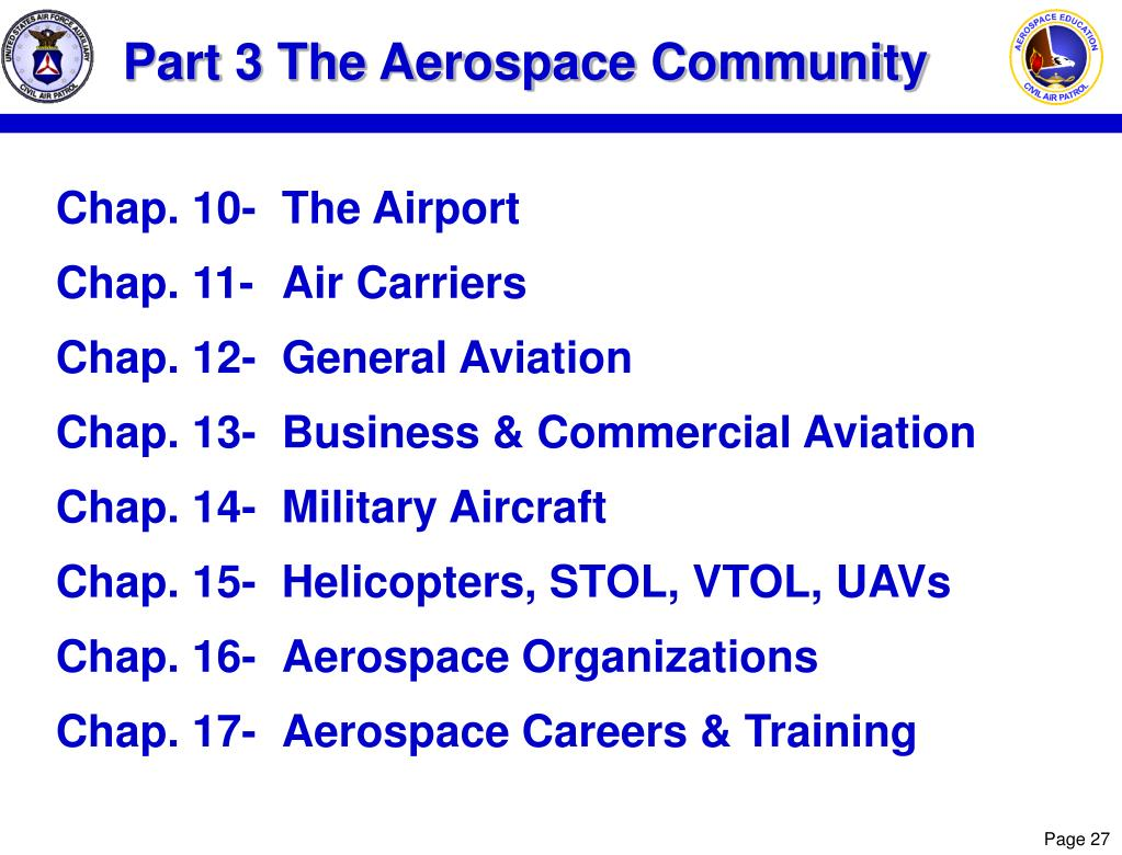 Part 3 The Aerospace Community