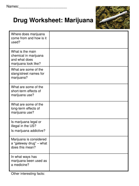 drug worksheet marijuana l.
