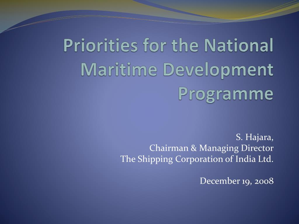 priorities for the national maritime development programme l.