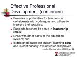effective professional development continued