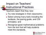 impact on teachers instructional practices