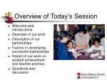 overview of today s session