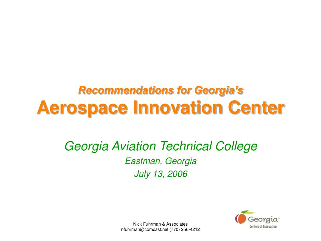 recommendations for georgia s aerospace innovation center l.