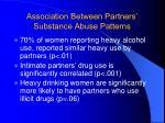 association between partners substance abuse patterns