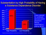 substantiation by high probability of having a substance dependence disorder
