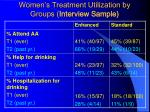 women s treatment utilization by groups interview sample