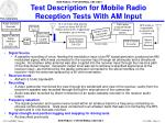 test description for mobile radio reception tests with am input