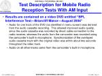 test description for mobile radio reception tests with am input25