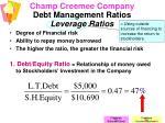 champ creemee company debt management ratios leverage ratios