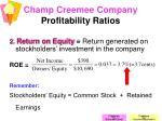 champ creemee company profitability ratios9