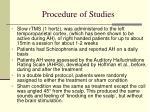 procedure of studies