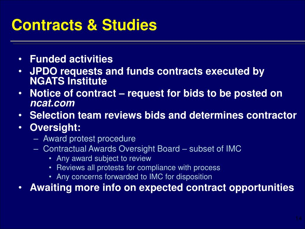 Contracts & Studies