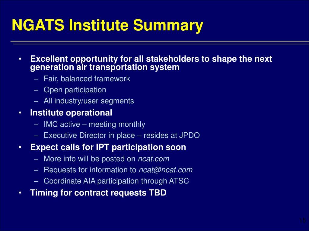 NGATS Institute Summary