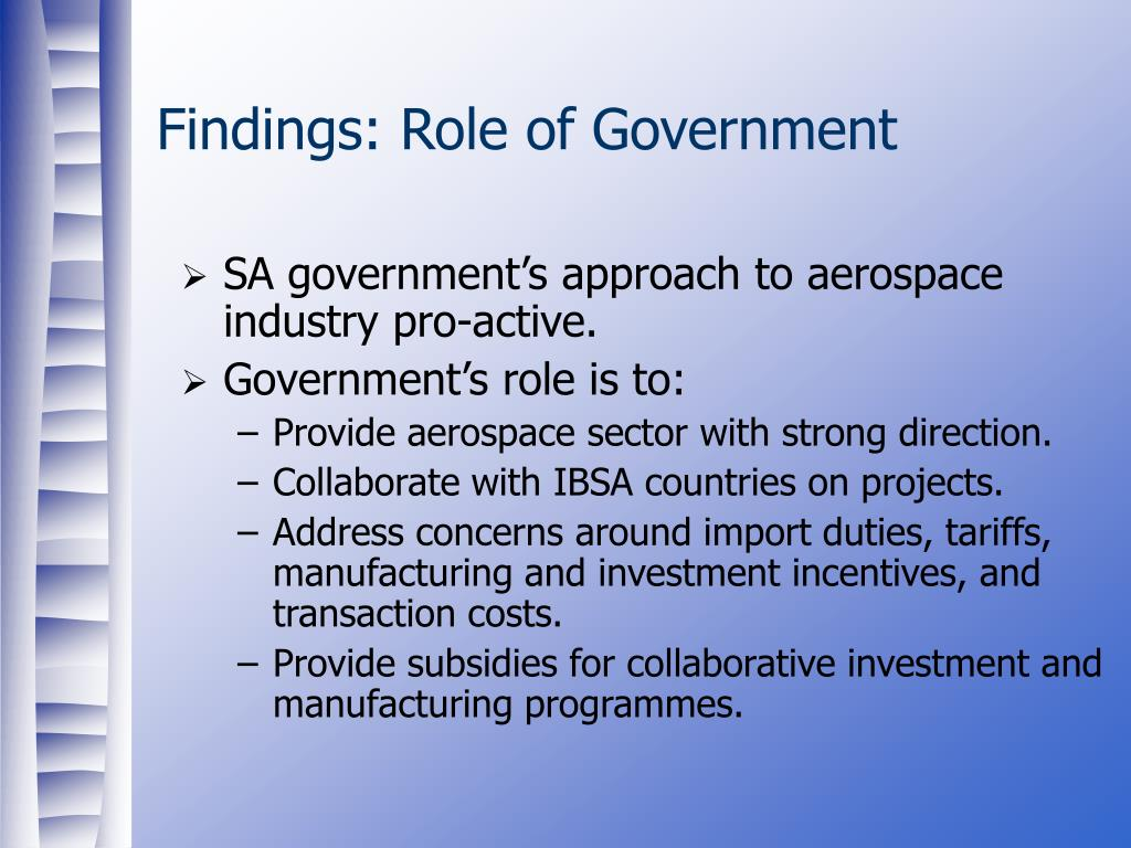 Findings: Role of Government