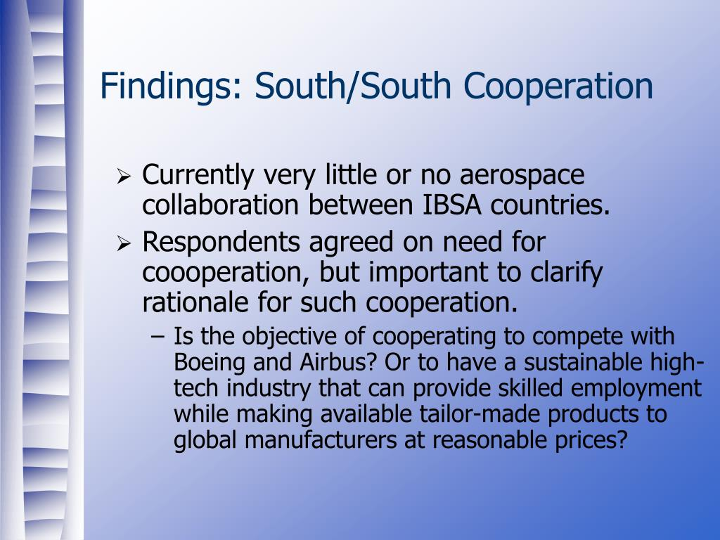 Findings: South/South Cooperation