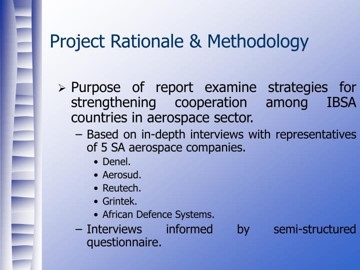 Project rationale methodology