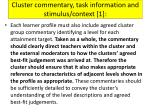 cluster commentary task information and stimulus context 1