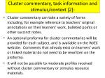 cluster commentary task information and stimulus context 2