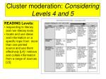 cluster moderation considering levels 4 and 539
