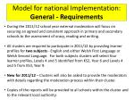 model for national implementation general requirements