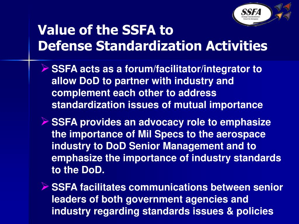 Value of the SSFA to