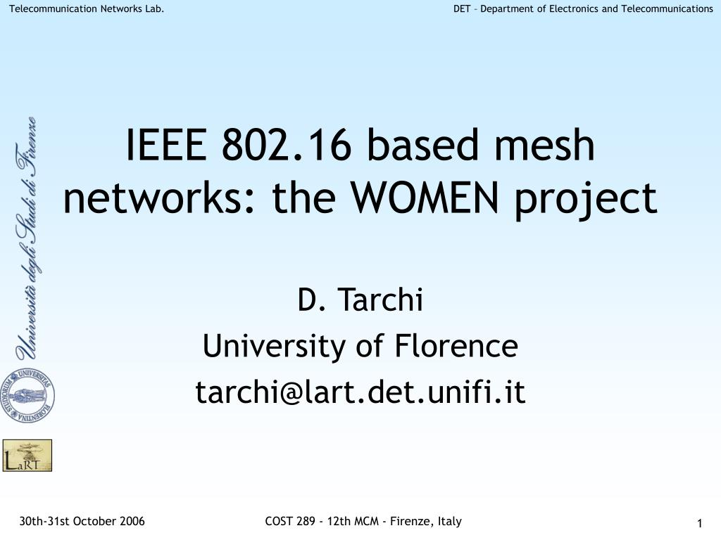 ieee 802 16 based mesh networks the women project l.