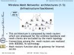 wireless mesh networks architectures 1 3 infrastructure backbone