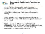 background public health functions and cast 5